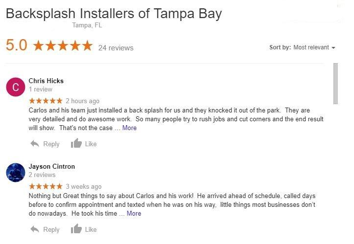Backsplash Installation Customer Review